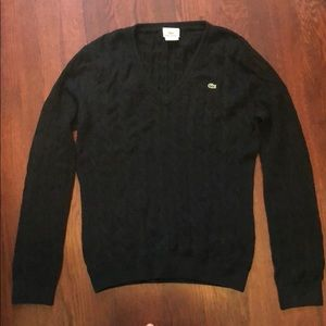 Lacoste Cable Knit VNeck Sweater